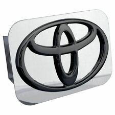 "Toyota Black and Chrome Stainless Steel 2"" Trailer Tow Hitch Cover"