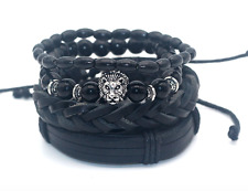 4Pc Men Bracelet Set Men Lion Set Black Out Bamboo Black Onyx Beads Leather