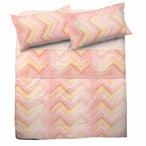 Set Bed Pompea Zigzag Sheets Above Under with Corners And Pillowcase Pink