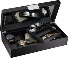 Glenor Co Luxury Watch and Sunglasses Box with Valet Tray for Men -14 Slot Black
