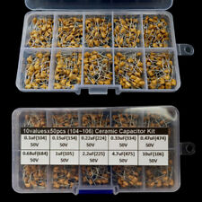 500pcs Ceramic Capacitor Assortment Kit Box 0.1uF~10uF (104~106) 10 Values 50V