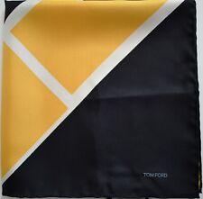 NWT Auth TOM FORD Colorblock Print 100% Silk Pocket Square Pochette Handkerchief