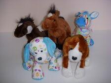 WEBKINZ GANZ STUFFED ANIMALS, LOT OF 5, 3 HORSES, 1 PEACE PUPPY, 1 PUPPY!
