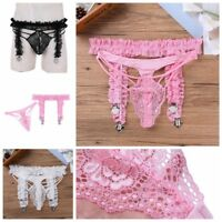Sexy Men Lingerie bridal 4 strap frilly garter Belt Sissy French Maid Underwear
