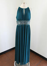 Teal Green Blue Drapey Sequin Beaded Evening Dress Formal Gown Size 16