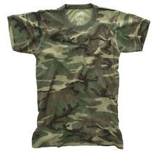 Boys Washed Woodland Camo T-shirt Kids Camouflage Vintage Feel Shirt Rothco 7605