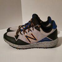 new balance all terrain shoes boys sz 5 gray, blue, yellow, hiking, camping
