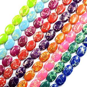 "16"" Sea Sediment Jasper Turquoise Oval & Round Beads Strand Jewellery Making UK"