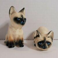 Vintage Enesco Siamese Cat Figurines Kitty Porcelain Ceramic Standing Crouching