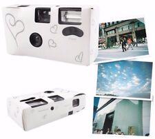 5  Silver Heart Disposable Wedding/Bridal Camera 27exp. Flash Table Card Film