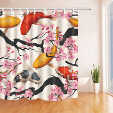 Pink cherry and Koi Shower Curtain Bathroom Polyester Fabric & 12hooks 71*71inch