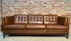 Long Vintage Danish 1970 Patinated Tan  Chesterfield Leather Three seater Sofa