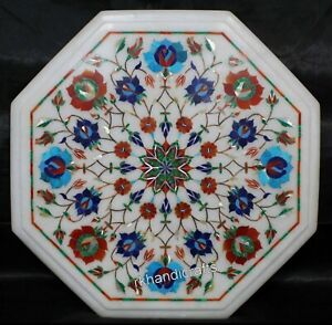 12 Inches Multi Gemstones Inlaid Side Table Top Marble Coffee Table Home Decor