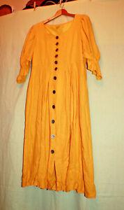 Damen Dirndl Landhausmode Trachtenmode durchgehende Knopfleiste gelb Distler 44