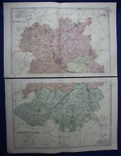 Original antique map x 2, NORTH & SOUTH SHROPSHIRE, RAILWAYS, G.W. Bacon, 1896