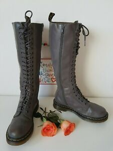 Dr Martens UK 5 EU 38 US 7 grey 20 eye 1b60 leather tall knee high zip