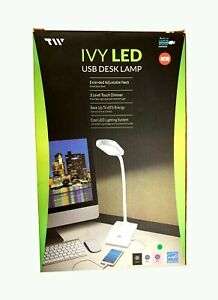 TW Lighting LED Desk Lamp with USB charging Port 3-Way Touch Switch - IVY- 40WT