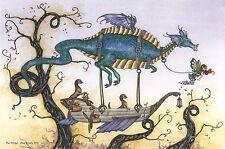 "Amy Brown Fairy Faery Fantasy Art Print 6""x9"" Voyage Dragon Otter Flying Ship"