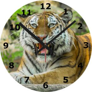 WALL CLOCK TIGER 25cm Nature Wildlife Animal Big Cat Snow Playing 1001