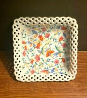 FINE WHITE CHINA SQUARE DISH  MADE IN GERMANY RETICULATED FLORAL BOWL VINTAGE