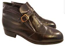 SIZE 8 EEE 3E florsheim shoes man monk beatle mod boots black leather VINTAGE