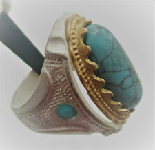 BEAUTIFUL POST MEDIEVAL VINTAGE SILVERED SEAL RING WITH TURQUOISE STONE
