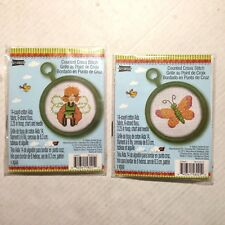 "2 Studio 18 Counted Cross Stitch Kit 3.25"" Hoop Butterfly Fairy Whimsical NEW"