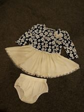 2pc Set - Long Sleeve Size 0 Baby Girls Dress & Bloomers Outfit 12M Navy Cream