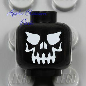 NEW Lego Skeleton Skull MINIFIG HEAD - Black Halloween Monster w/White Evil Eyes