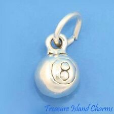 BALL 8 POOL BILLIARD SOLID 3D .925 Sterling Silver Charm MADE IN USA