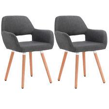 2 x Esszimmerstühle Küchenstuhl Lehnstuhl Retro Leinen Holz Dunkelgrau BH76dgr-2