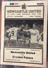 Newcastle United v Crystal Palace Match Day Programme 2015/16