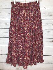 Nostalgia Womens Skirt Sz S Red Floral Broomstick Grunge Boho Shabby Full Length