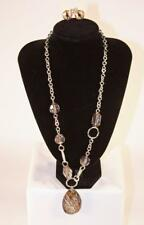 "NENA 26"" Silvertone Pendant Necklace Earrings Set Fashion Jewelry New jxbu"