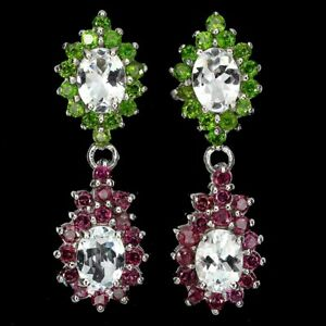 Unheated Oval Aquamarine Emerald Rhodolite Garnet 925 Sterling Silver Earrings