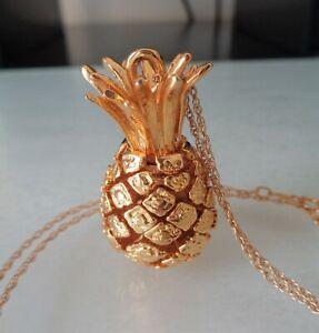 14K Gold Filled Rope Chain, Slide Massive Pineapple Pendant.