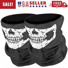 2Pcs Skeleton Ghost Skull Face Mask Sun Shield Neck Gaiter Balaclava Scarf SPF40