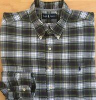 Ralph Lauren Polo Men's XL Long Sleeve Plaid Button Down Shirt Green Blue EUC
