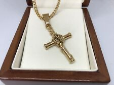 """9ct Gold filled Crucifix Cross  Pendant Necklace 18"""" Long FREE GIFT BOX"""