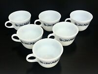 Vintage Pyrex Spring Blossom Crazy Daisy Pattern Set of 6 Coffee Tea Cups Glass