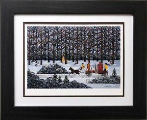 """Jane Wooster Scott """"Dashing through the snow"""" Hand Signed #'d CUSTOM FRAMED ART"""