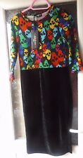 INDULGENCE LONDON BLACK VELVET DRESS WITH SKULL DESIGN SZ S/M BNWT HALLOWEEN!!
