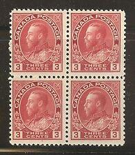 Canada #109, 1923 3c King George V - Admiral Issue, Die/Type I Block Unused NH