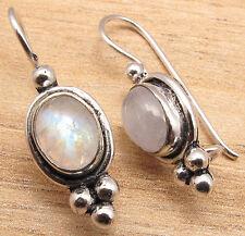 JEWELRY ! Genuine MOONSTONE Gemstones Handcrafted Earrings , 925 Silver Plated