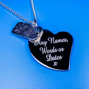 Personalised Heart Friends Charm Pendant Necklace Gifts Names Words Engraving