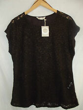 BNWT DARK BROWN LACE FRONT CAP SLEEVED CASUALTOP SZ18 EU 46