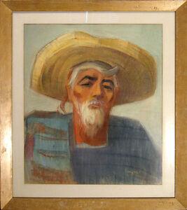 "Myra Albinson ""Old Ranchero"" Original Pastel Portrait Drawing, Mexico MAKE OFFER"