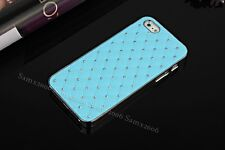 Gypsophila Crystal-Studded Leather Textured Luxury iPhone 5S SE Case Cover-Blue
