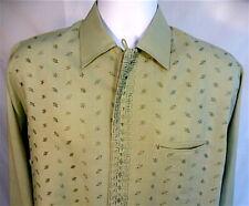 New listing 1950s Deadstock Nos Green Pilgrim Rayon Gabardine Shirt Loop Collar So Very Cool