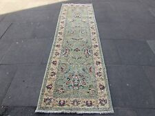 Old Hand Made COLORANTE NATURALE VERDE lana afghana Ziegler Corridore 9 FT (ca. 2.74 m) 280x85cm